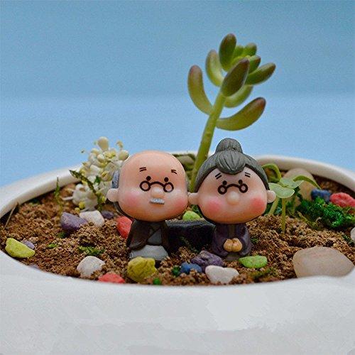 Forviupet Moos-Terrarium-Dekoration, Bonsai-Puppenhaus, Miniaturen, Gartenzwerg, Opa, Fee, 2 Stück