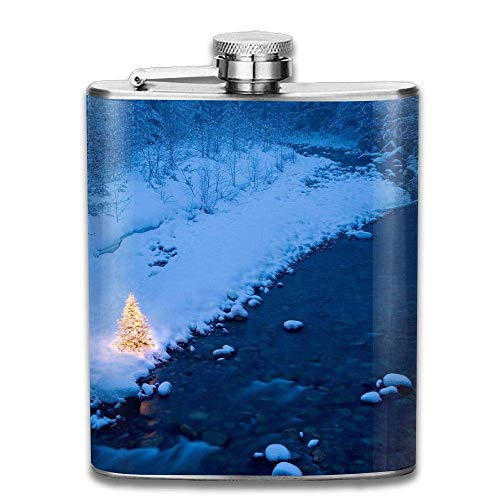 Winter Christmas Tree Fashion Portable Stainless Steel Hip Flask Whiskey Bottle 7 Oz