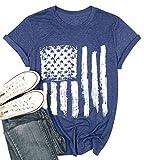 American Flag Shirt Patriotic Stars Stripes T Shirt Top Women Short Sleeve Casual Graphic Print Tee Shirt (L, Blue)
