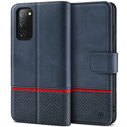 BEZ Handyhülle für Samsung S20 FE 5G Hülle, Tasche Schutzhüllen Kompatibel mit Samsung Galaxy S20 FE 5G, Schützende Brieftasche aus PU Leder mit Kartenfächern, Kick-Ständer, Magnetverschluss, Marine