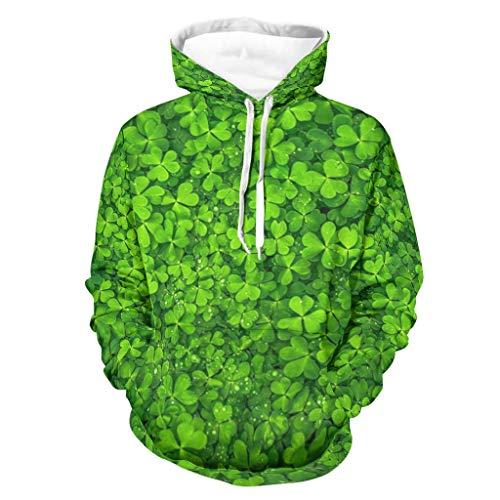 Fantasy Verde Shamrock Clovers St Patrick, Sudadera con capucha para hombre, manga larga, con bolsillos blanco XXXXXL