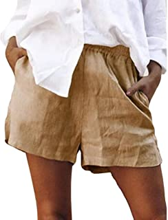 S-Fly Women Shorts Color Solid Elastic Casual Waist Pockets Cotton Linen Shorts