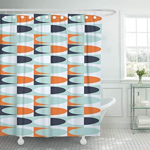 GABRI Duschvorhang Anti-Schimmel Waschbar Polyester mit 12 Duschvorhangringen 1960er geometrischer Jahrgang 1970er 70er Bauhaus 1950er Jahre (122X180cm)