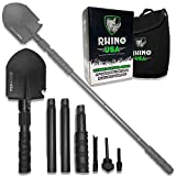 Rhino USA Camping Survival Shovel - Heavy Duty Steel Collapsible Entrenching Tool for Sand, Offroad, Beach, Backpacking, Hiking, Recovery - Best Emergency Military Shovel