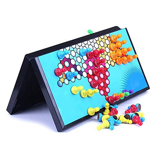 Cutfouwe Halma-Set, Brettspiel,Magnetische Faltende Chinesische Kontrolleure Checkers, Klassisches Strategie Brettspiel,35x35cm
