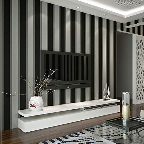Amberzcy Fliesenaufkleber Mutige Streifen Tapete Charcoal Grau Schwarz Weiß Silber Modern (10x0.53m) Vertikale Tapete Hauptdekor-Wand-Papier-Rolle Clip Wandbild