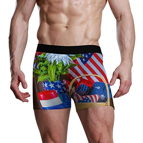 NaiiaN Boxer Elasticizzato Tronco Slip da Uomo Bulge Pouch Candela Basket Daisy Flower Bandiera Americana
