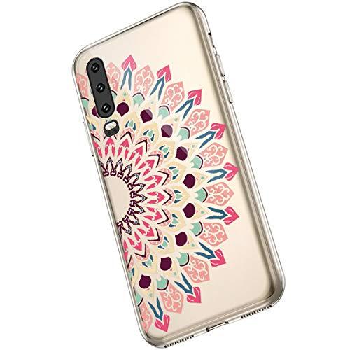 Saceebe Compatible avec Huawei P30 Coque Fleur Mandala Clair Design Motif Silicone Transparent TPU Souple Housse de Protection Ultra Mince Slim Léger Antichoc Étui,Fleur Mandala