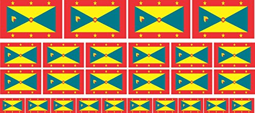 Mini Aufkleber Set - Pack glatt - 4x 51x31mm+ 12x 33x20mm + 10x 20x12mm- Sticker - Fahne - Grenada - Flagge - Banner - Standarte fürs Auto, Büro, zu Hause & die Schule - Set of 26