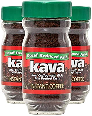 Kava Decaf Acid Reduced Instant Coffee, 4 Ounce Jar (Pack of 3)