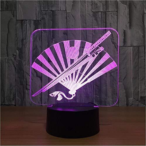Lámpara LED 3D con cuchillo y ventilador japoneses, lámparas de noche LED de 7 colores para niños, mesa Usb táctil, regalo de luz nocturna para dormir para bebés