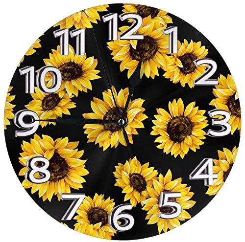 AZHOULIULIU Co.,ltd Hipster Golden Girasoles Reloj de Pared Redondo Fácil de Leer Decorativo para la Escuela de la Oficina en casa
