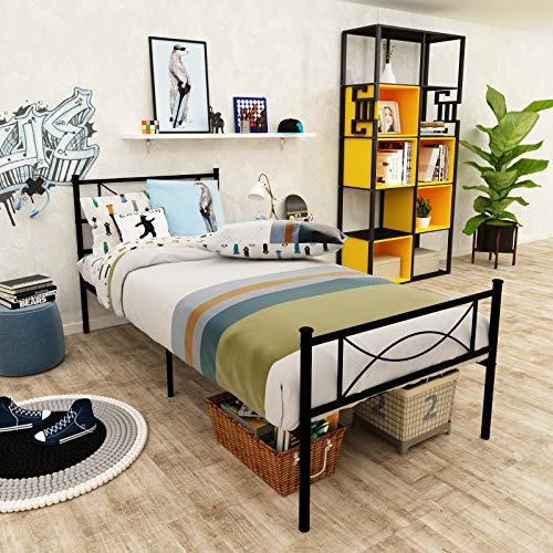 SimLife Metal Bed Frame Twin Size 6 Legs Two Headboards Mattress Foundation...