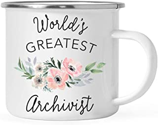Andaz Press 11oz. Stainless Steel Campfire Coffee Mug Gift for Women, World's Greatest Archivist Mug, Bohemian Pink Anemone Floral Flower, 1-Pack, Enamel Camping Drinking Cup Birthday Christmas