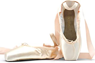 DANCEYOU Professional Ballet Pointe Shoes, Satin Pointe Slippers with Ribbon for Big Girls Women, Pale Pink