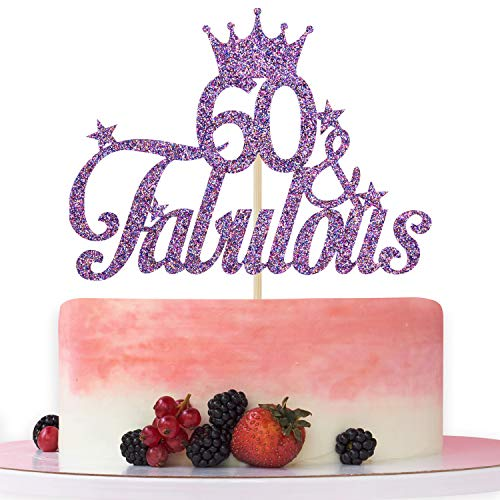 Purple Glitter 60 & Fabulous Cake Topper - 60th Birthday Cake Decorating - Happy 60th Anniversary/Birthday Party Decoration Supplies