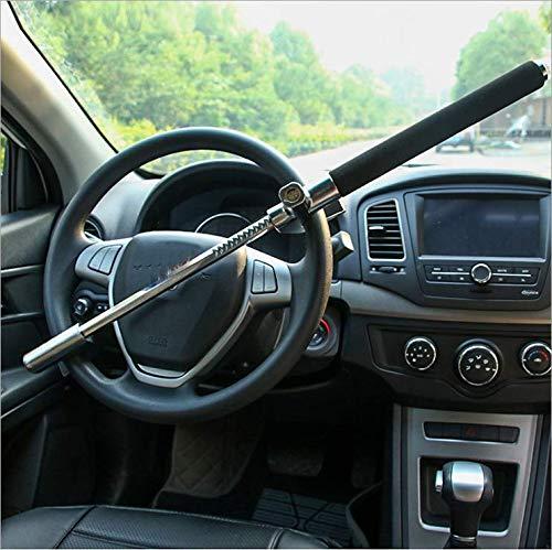 Acobonline Cerradura del Volante Antirrobo Alta Seguridad Fuerte Universal para Todos Vehículos Bloqueo Giratorio Ajustable Autodefensa con 3 Llaves (Negro)