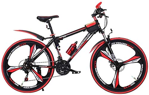 WHEEJE Carbon Steel Kids' Bikes Adult Mountain Bike Bicycle Student Road Bike Summer Mountaineering Bicycle Outdoor Leisure Bicycle Speed ??adjustable Double Disc Brake Bicycle (Color : Red, Size : 24