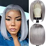 Lace Front Bob Wigs Real Virgin Human Hair Pre Plucked Shrot Straight Bob Haircut Grey Colored 12 inch Shoulder Length with Natural Hairline T part Frontal Lace