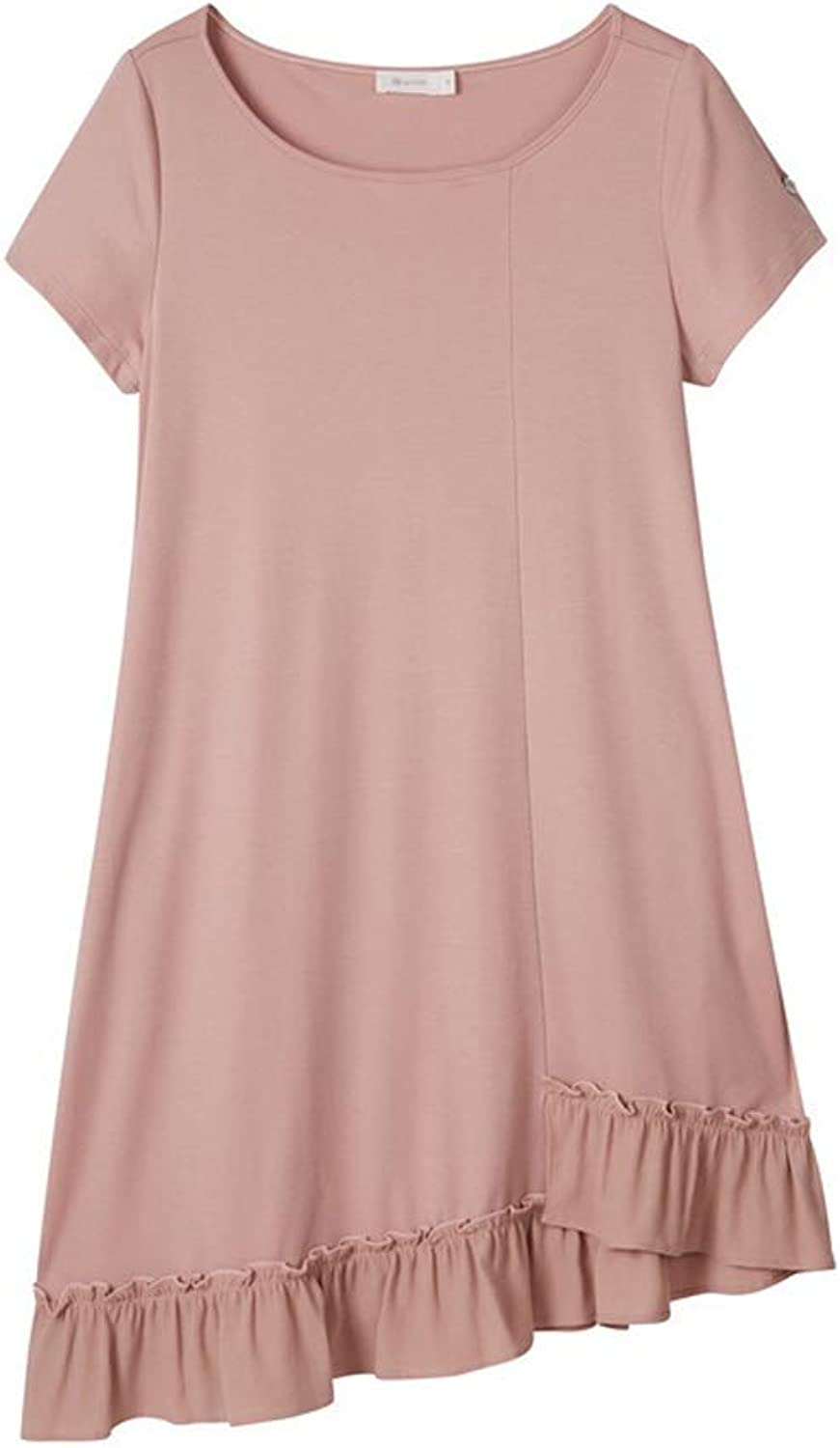 Home Service Women's Long TShirt Nightdress Women's Solid color Simple Home Service Cotton Nightdress (color   Pink, Size   S)