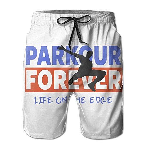 Pantalones Cortos de Playa para Hombre Parkour Forever Pantalones de baño de Verano con Tabla de mar, Talla XXL