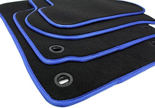 kfzpremiumteile24 Fußmatten / Velours Automatten Premium Qualität Stoffmatten 4-teilig schwarz/blau
