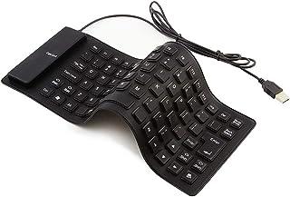 シリコンキーボード USB有線 折り畳み式 巻き取り 柔らかいシリコン製 防水 防塵 静音設計 英語配列 85キー 小型 軽量 携帯便利 コンパクト USB接続 PC/ノートパソコン/コンピュータ用 (ブラック)