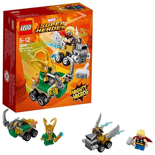 LEGO- Super Heroes Mighty Micros: Thor conLoki, Multicolore, 76091