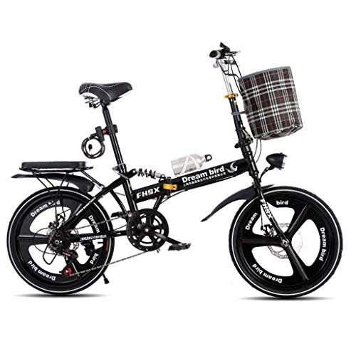 WLGQ Bicicleta Frenos de Disco de Cambio Plegables 20 Pulgadas Absorción de Golpes Bicicleta Plegable portátil Ultraligera Unisex (Color: Negro)