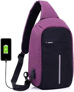 ADDG Hombro de Carga USB Crossbody Bolsa de Hombre antirrobo Hombres Mujer Invisible de la Cremallera en el Pecho Paquete ...