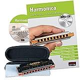 CASCHA HH 1610 EN Professional Blues Harmonica Set - Harmonica avec livre d'instruction en anglais + MP3-CD
