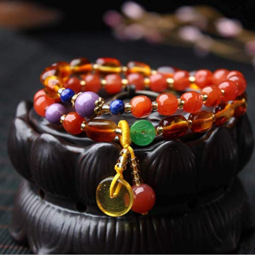 Feng Shui Budismo Oración Pulsera Prosperidad Red Carnelian Gold Amber Amulet Bangle Botón Paz Colgante Curación Cristal Chakra Múltiples piedras preciosas para buena suerte Energía espiritual física