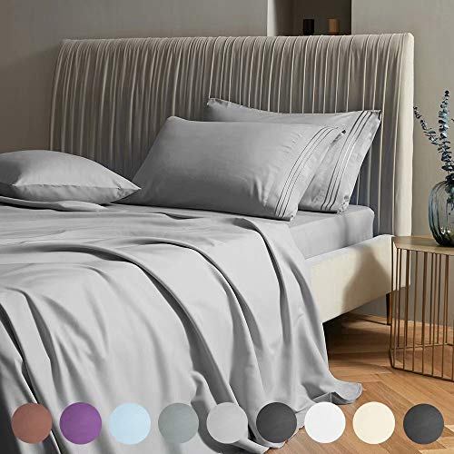 "SAKIAO Queen Size Bed Sheets Set - Brushed Microfiber 1800 Thread Count Percale - 16"" Deep Pocket Egyptian Sheets Beautiful Breathable Wrinkle Free & Fade Resistant - 4 Piece (Grey,Queen)"