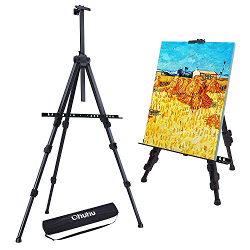 "Easel Stand, Ohuhu 72' Artist Easels for Display, Aluminum Metal Tripod Field Easel with Bag for Table-Top/Floor/Flip Charts, Black Art Easels W/Adjustable Height 25-72"" for Back to School"
