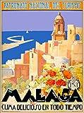 ABLERTRADE Metallschild Malaga Spanien Spanische Riviera