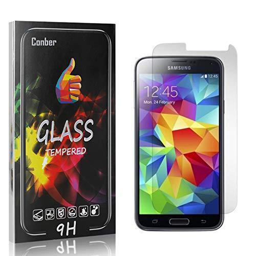 Conber [4 Stück] Displayschutzfolie kompatibel mit Samsung Galaxy S5, Panzerglas Schutzfolie für Samsung Galaxy S5 [Hüllenfreundlich][9H Härte]