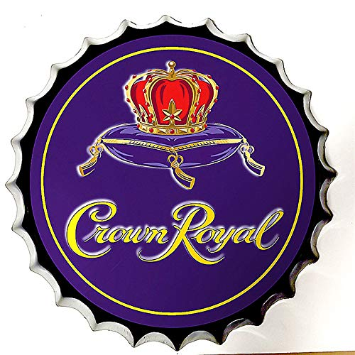 Modern Tin Sign Bottle Cap Crown Royal Purple Vintage Metal Tin Sign Wall Decor for Bar/Cafe/Home Kitchen/Restaurant/Garage/Man Cave/Lounge Décor 13.8 inches