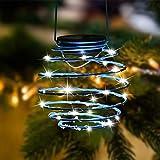 Roaming Light Solar Spiral LED Lanterns, Solar Garden Lights Outdoor Decorative Hanging Lights, Waterproof Pendant Light for Garden, Patio, Porch(Blue)