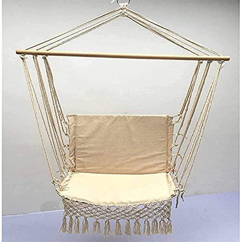 XIAOTIAN Hamaca colgante de estilo nórdico, hamaca con borla, para interiores y exteriores, para patio, patio, jardín, hamaca
