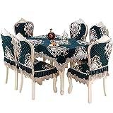 DYR Mantel de Gama Alta Funda de Silla de Estilo Europeo de Lujo 7PC / Set Mantel Bordado Fundas para sillas de Mesa de Comedor Cojín de Mesa de Comedor para el hogar Funda para Taburete de Asiento