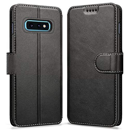 ykooe Handyhülle für Samsung Galaxy S10e Hülle, Schwarz Leder Schutzhülle für Samsung Galaxy S10e Flip Hülle Tasche