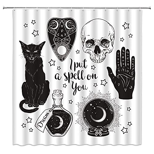 Hexe Duschvorhang Totenkopf schwarze Katze Palmistry Hand Ouija Board Kristall Kugel gruselige Magie Hexerei Alchemie Illustration Stoff Badezimmer Dekor Haken enthalten, 180 x 180 cm, schwarz weiß