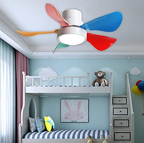 Ventilador De Techo Con Luz Infantil Y Mando A Distancia Reversible Regulable Lampara Ventilador Techo Silencioso Lámpara Habitación Infantiles Dormitorio Niños Plafón Led