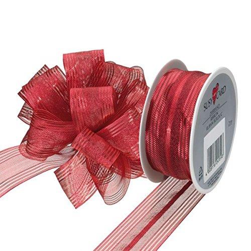 Susy Card 40003689Natale di nastro in tessuto, 3mx25mm, su bobina di Klein, Fiocco, 1pezzi, susifix, Rosso