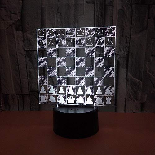 LED Ajedrez internacional 3D Luz de noche, Phantom Lámpara de mesa Cuatro modos y 16 colores Lámpara de decoración Cambio - perfectos para niño Regalo de Navidad Cumpleaños [Eficiencia energética A+]