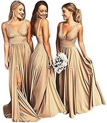 Gold V Neck Bridesmaid Dresses Long for Wedding Split A-line Pleated Prom Dress Gold Size 10