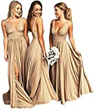 Gold Bridesmaid Dresses,Split Bridesmaid Dresses V Neck Sleeveless Beach Wedding Evening Gowns Gold Size 4