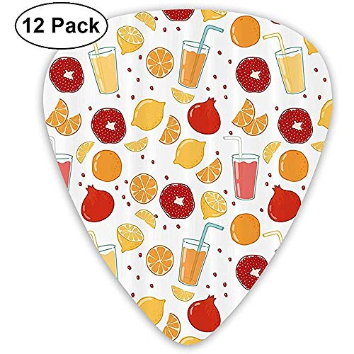 12 Pack Granaatappel Oranje Sap Citroen Zoete Gitaar Picks Complete Gift Set voor Gitarist