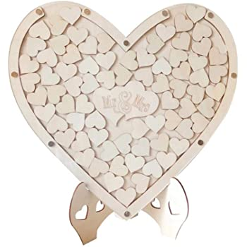 Lizefang-Home Corazones de Madera Libro de visitas de Boda, Cuadro Alternativo Caja de caída Montable en la Pared Corazón de Amor de Madera Mesa de Boda Dispersión Decoración Manualidades para rega: Amazon.es: