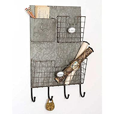 Industrial Style Three Pocket  Letters  Wall Caddy